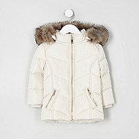 Mini - Crème gewatteerde jas met rand van imitatiebont voor meisjes