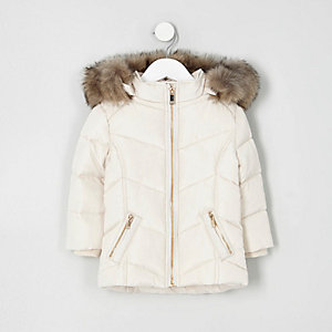 Mini girls cream faux fur trim padded coat