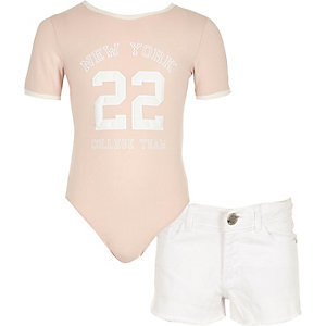 Girls pink 'New York' print bodysuit outfit