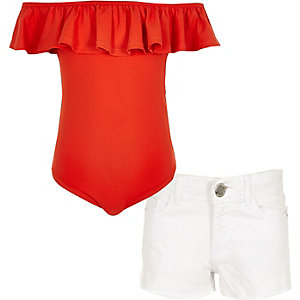 Girls orange ruffle bardot bodysuit outfit