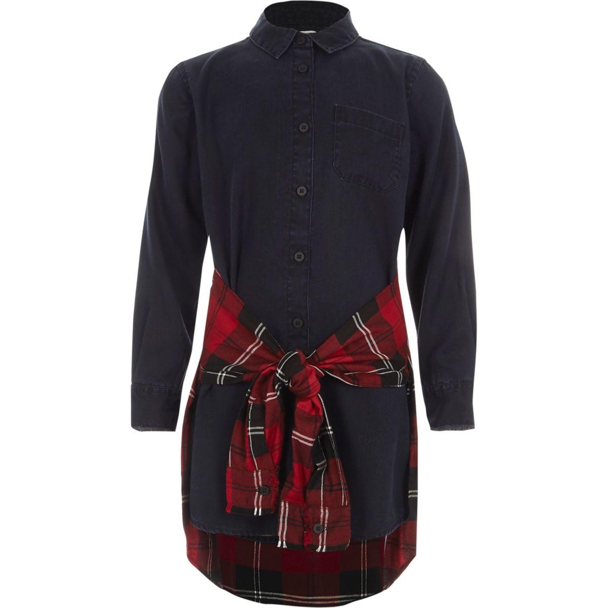 Girls dark denim red check shirt tie dress