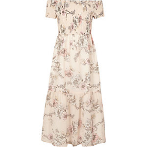 Girls pink floral shirred bardot maxi dress