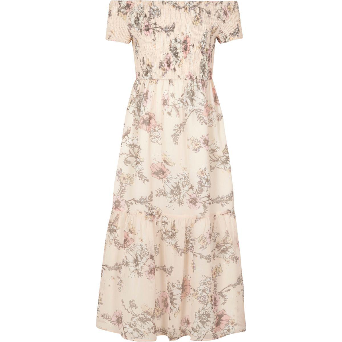 Girls pink floral shirred bardot maxi dress