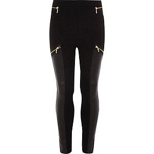 Legging noir avec empiècements en cuir synthétique zippé pour fille