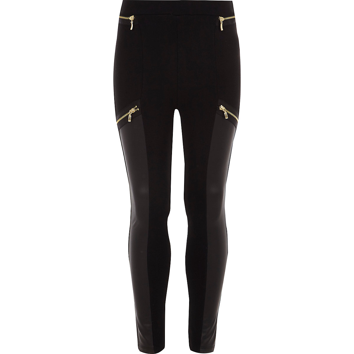 Girls black faux leather panel zip leggings