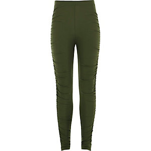 Girls khaki green ruched leggings