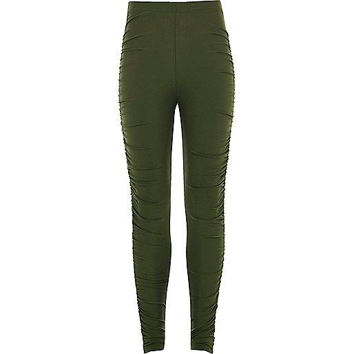 Girls khaki green ruched leggings