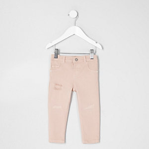 Mini girls pink rip and repair Molly jeggings