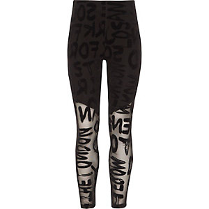 Girls black flocked mesh leggings