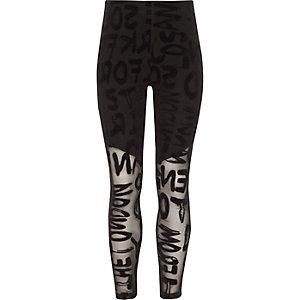 Zwarte gevlekte legging van mesh voor meisjes