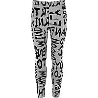 Girls grey flocked graffiti print leggings