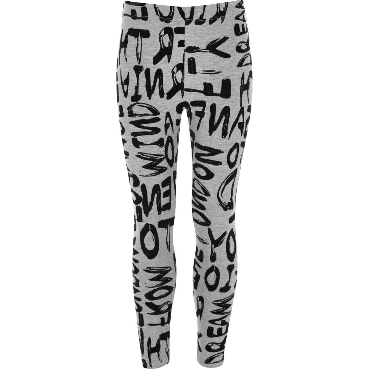Girls grey flocked graffiti print leggings