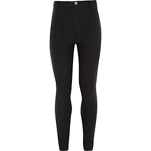 Girls black pinstripe Molly jeggings