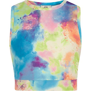 Girls blue paint splat sleeveless crop top
