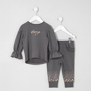 Ensemble avec pantalon de jogging « Amazing » gris motif étoile mini fille