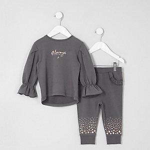 Mini - Outfit met grijze joggingbroek met 'Amazing'-print voor meisjes