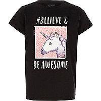 Girls black reversible unicorn emoji T-shirt