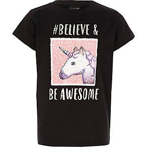 T-shirt réversible noir motif emoji/licorne pour fille
