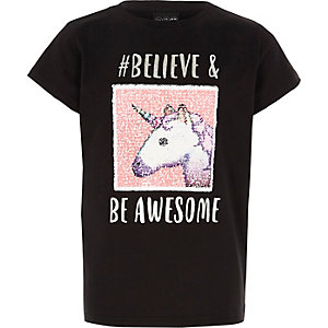 Zwart omkeerbaar T-shirt met eenhoorn-emoji voor meisjes