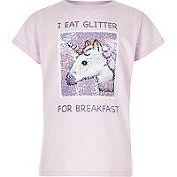 Girls lilac unicorn reversible sequin T-shirt