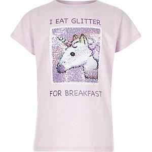 T-shirt lilas à imprimé licornes orné de sequins réversible pour fille