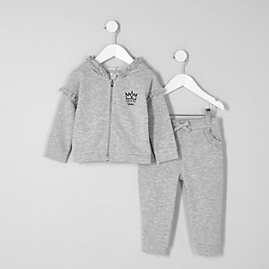 Mini girls grey ruffle hoodie joggers outfit