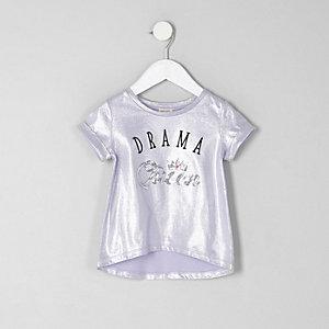 Mini girls lilac sequin 'drama queen' T-shirt