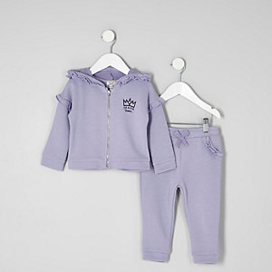 Mini girls purple ruffle hoodie jogger outfit