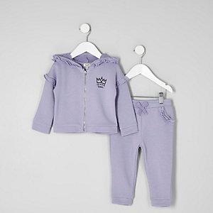 Survêtement violet à capuche avec volants mini fille