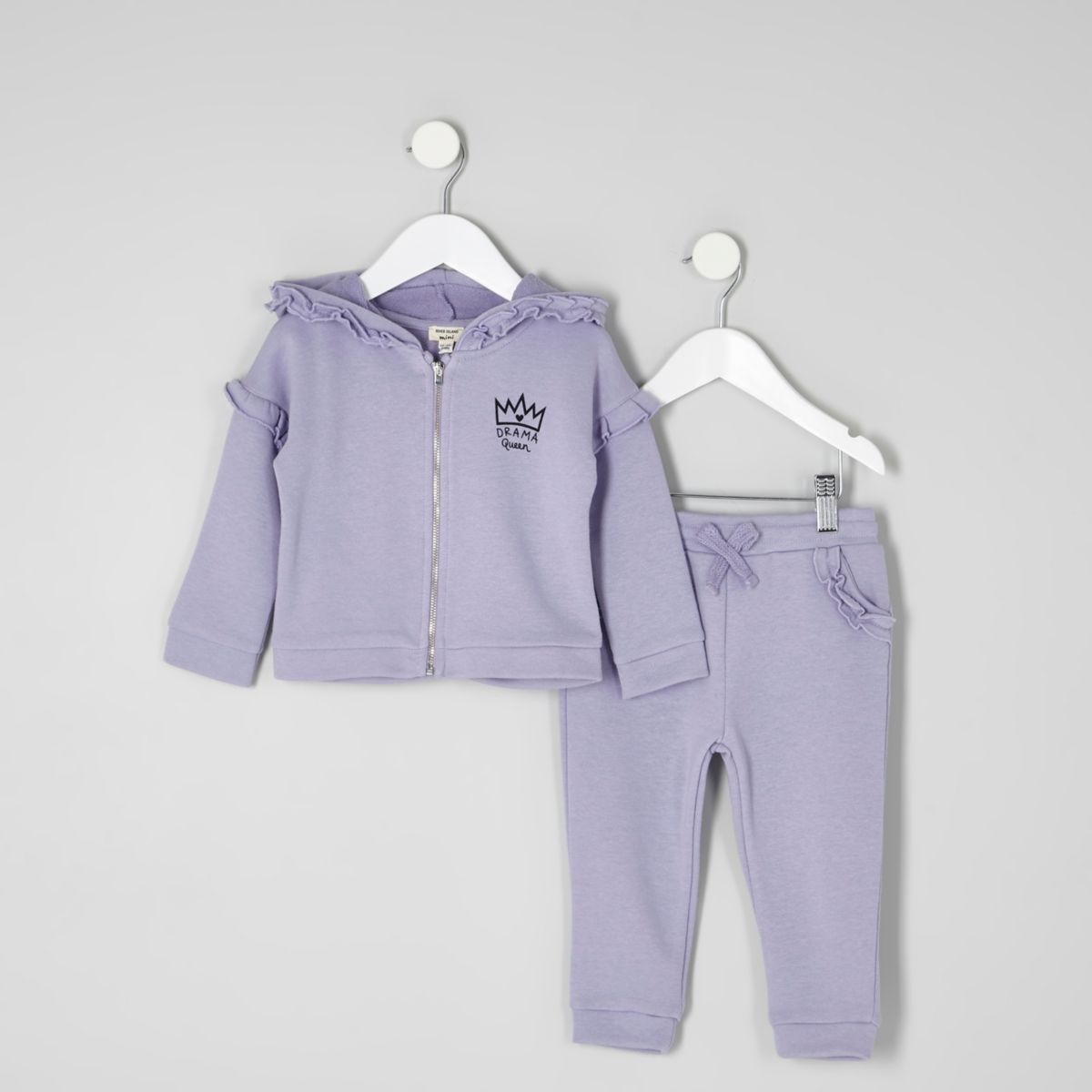 Mini girls purple ruffle hoodie jogger outfit