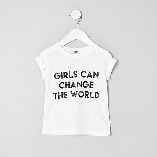 Mini girls white print short sleeve T-shirt