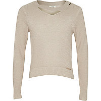Girls beige cut out neck metallic knit top