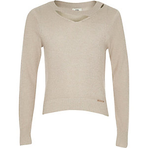 Girls beige cut out neck lurex knit top