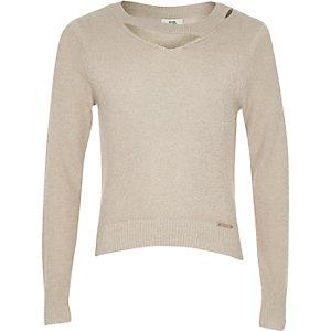 Beige lurex tricot top met uitsnede bij de hals voor meisjes