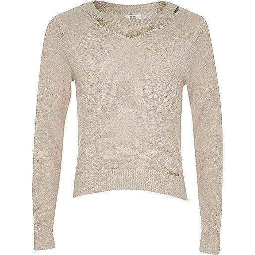 Girls beige cut out neck lurex knit top
