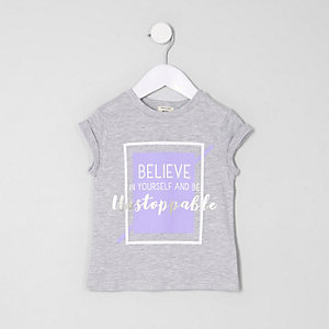 Mini girls grey 'Unstoppable' print T-shirt