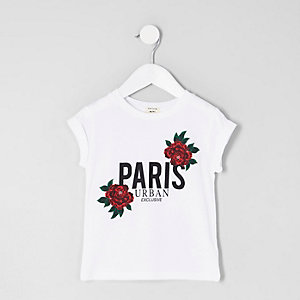 Mini girls white 'Paris' floral print T-shirt