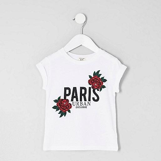 Mini girls white 'Paris' floral print T-shirt