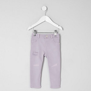 Mini girls purple rip detail Molly jeggings