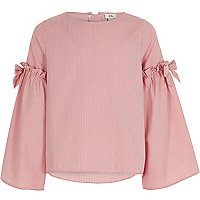 Girls red stripe bell sleeve top