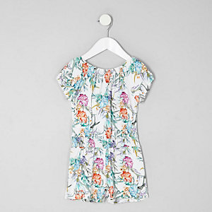 Mini girls tropical print bardot romper
