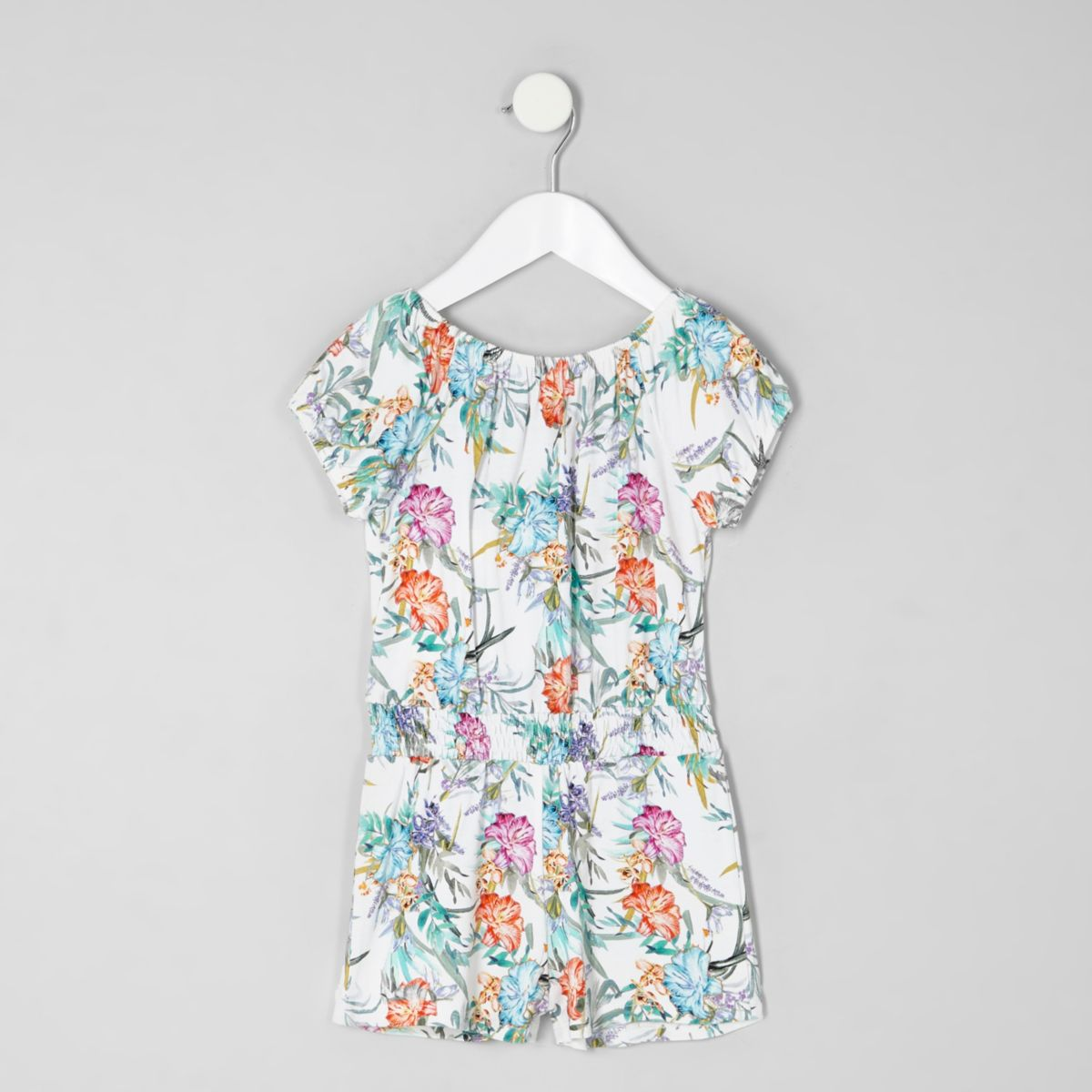 Mini girls tropical print bardot playsuit