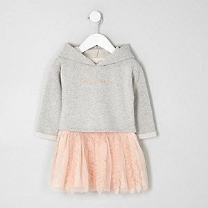 Mini girls grey sweatshirt tutu skirt dress