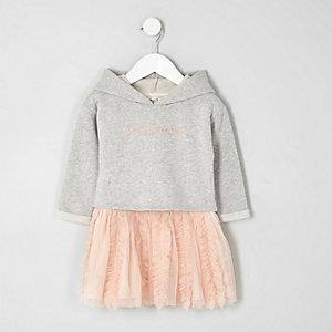 Mini - Jurk met grijs sweatshirt en rok met tutu voor meisjes