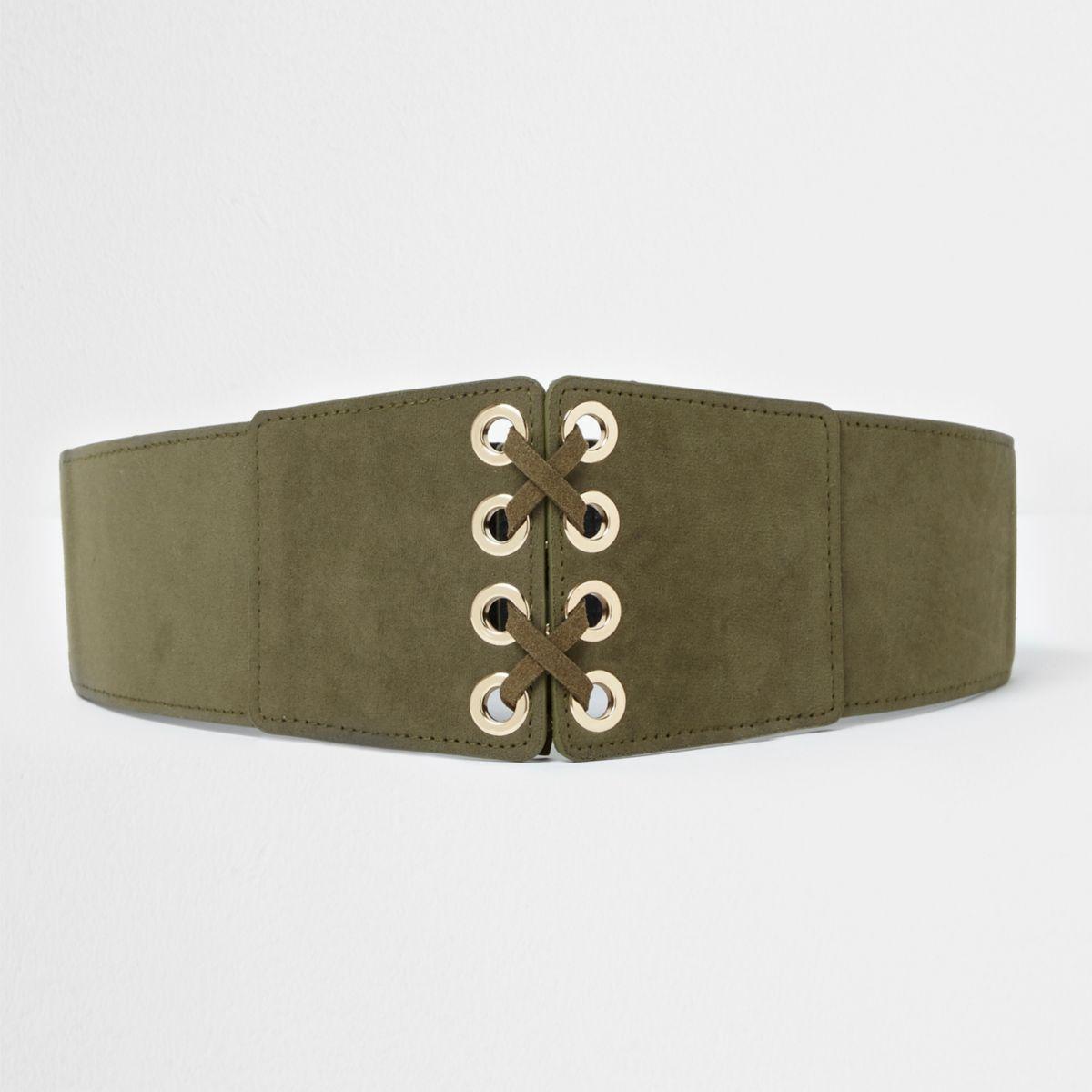 Girls khaki green lattice waist belt