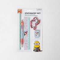 Girls pink Minons stationary set