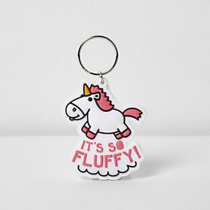 Girls pink unicorn keyring