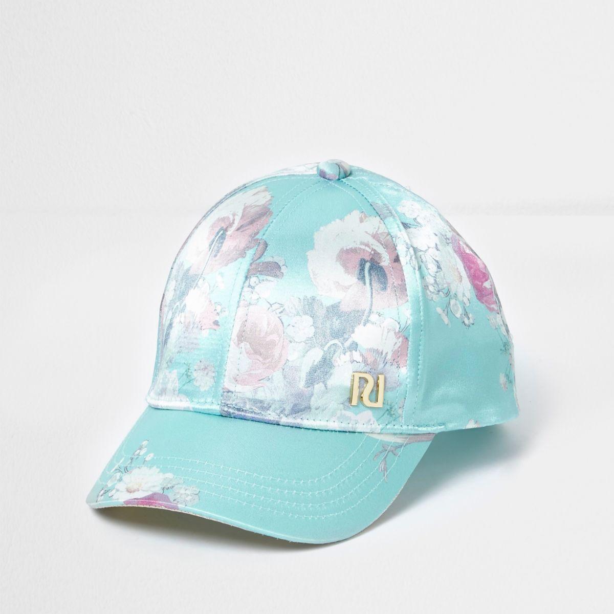 Mini girls light green floral baseball cap