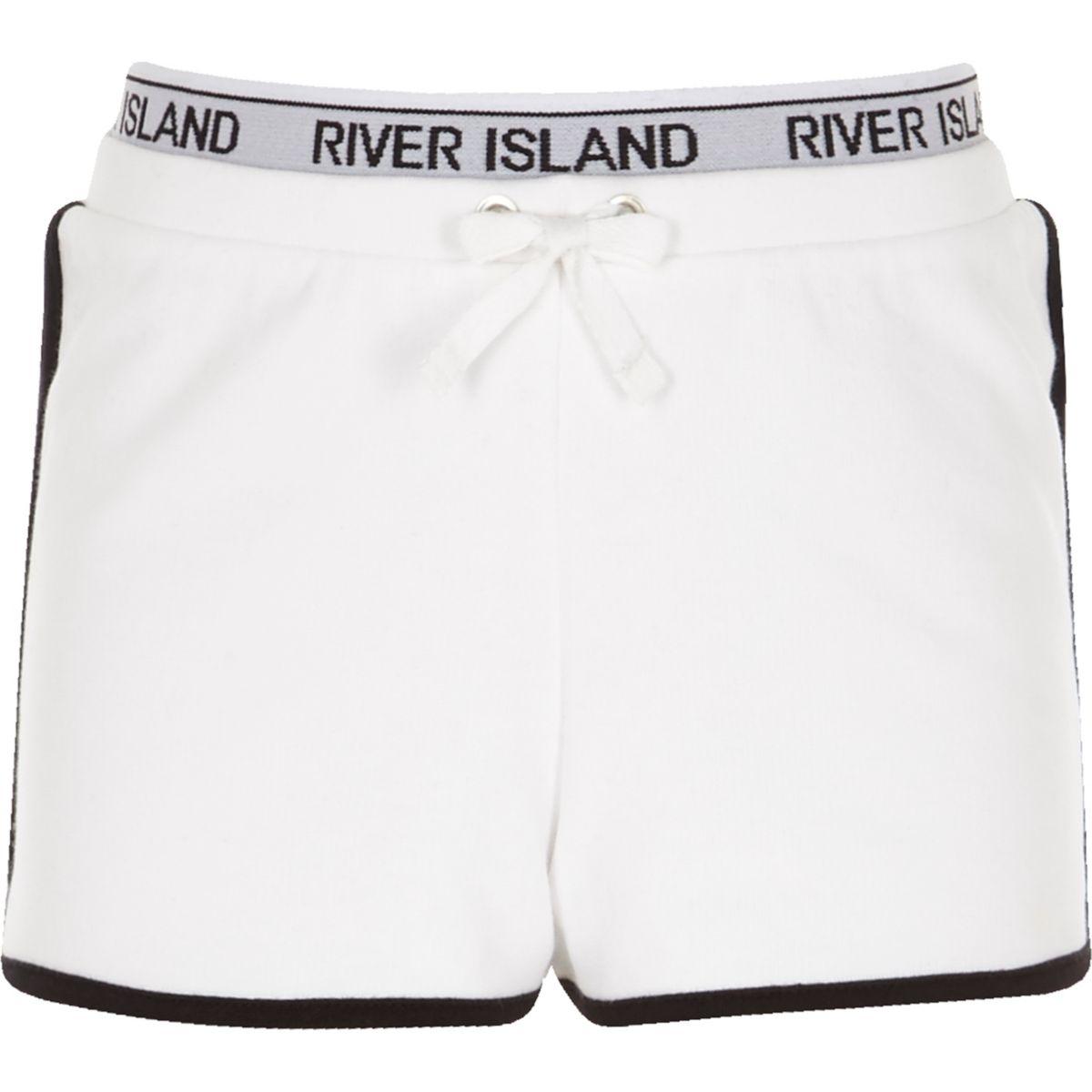 Girls white RI waistband runner shorts