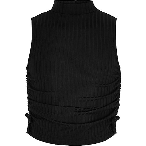 Girls black ruched high neck sleeveless top